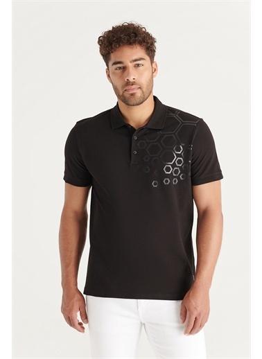 Avva Erkek Polo Yaka Pano Baskılı T-Shirt A11Y1149 Siyah